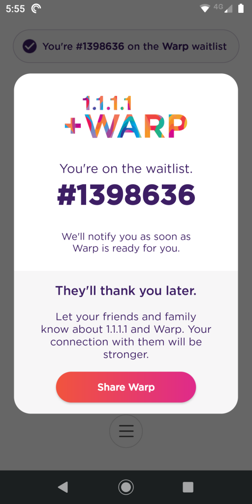 cloudflare warp waiting list